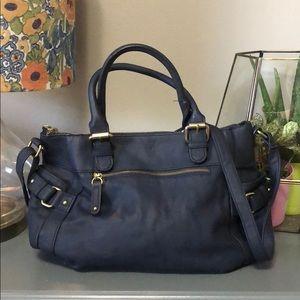 """Merona blue """"suede"""" purse handbag shoulder strap"""